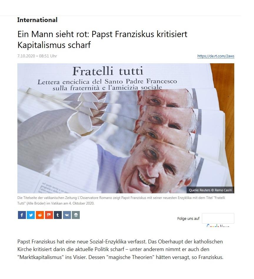 International - Ein Mann sieht rot: Papst Franziskus kritisiert Kapitalismus scharf - RT Deutsch - 07.10.2020