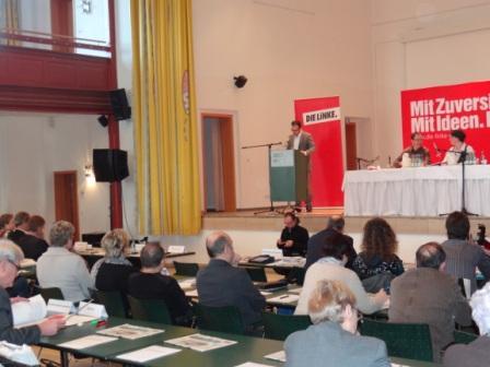 Fotos vom Güstrower Landesparteitag der Partei Die Linke am 3.März 2012. Der Landesvorsitzende der Partei Die Linke von Mecklenburg-Vorpommern Steffen Bockhahn während seiner Rede. Foto: Eckart Kreitlow