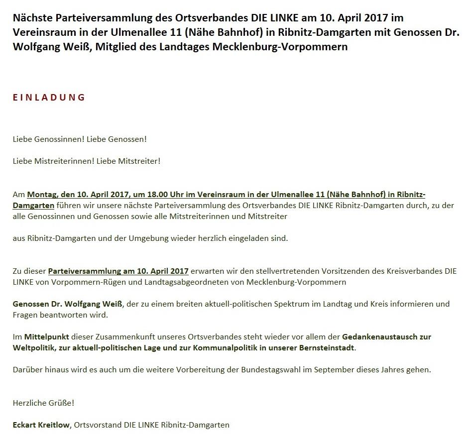 Parteiversammlung des Ortsverbandes DIE LINKE  Ribnitz-Damgarten am 10. April 2017  im Vereinsraum in der Ulmenallee 11 (Nähe Bahnhof) in Ribnitz-Damgarten mit Genossen Dr. Wolfgang Weiß, Mitglied des Landtages Mecklenburg-Vorpommern