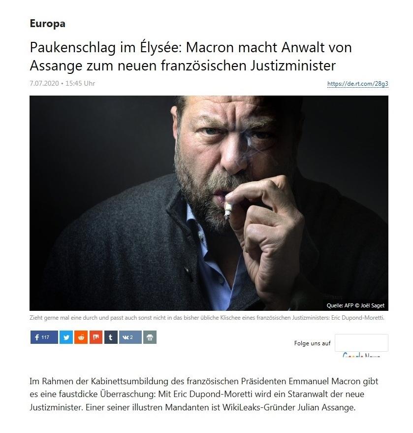 Europa - Paukenschlag im Élysée: Macron macht Anwalt von Assange zum neuen französischen Justizminister - RT Deutsch - 07.07.2020