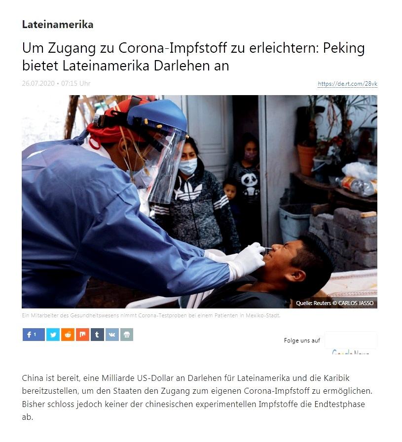 Lateinamerika - Um Zugang zu Corona-Impfstoff zu erleichtern: Peking bietet Lateinamerika Darlehen an - RT Deutsch - 26.07.2020