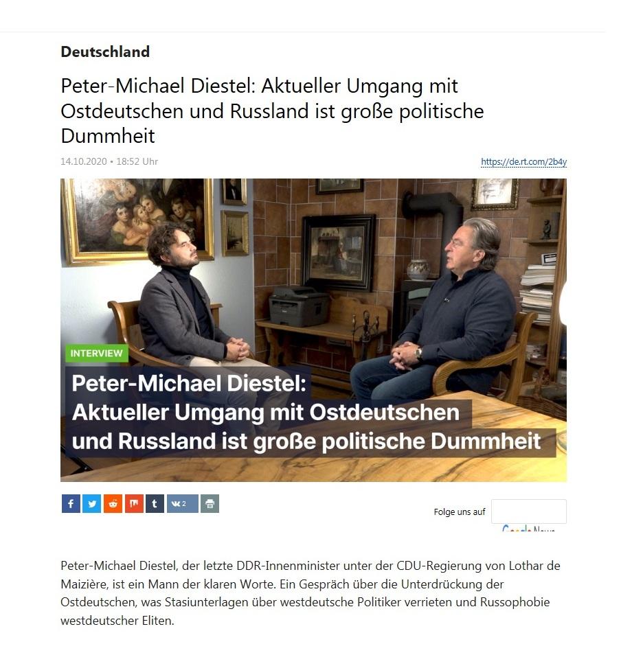 Deutschland - Peter-Michael Diestel: Aktueller Umgang mit Ostdeutschen und Russland ist große politische Dummheit - RT Deutsch - 14.10.2020