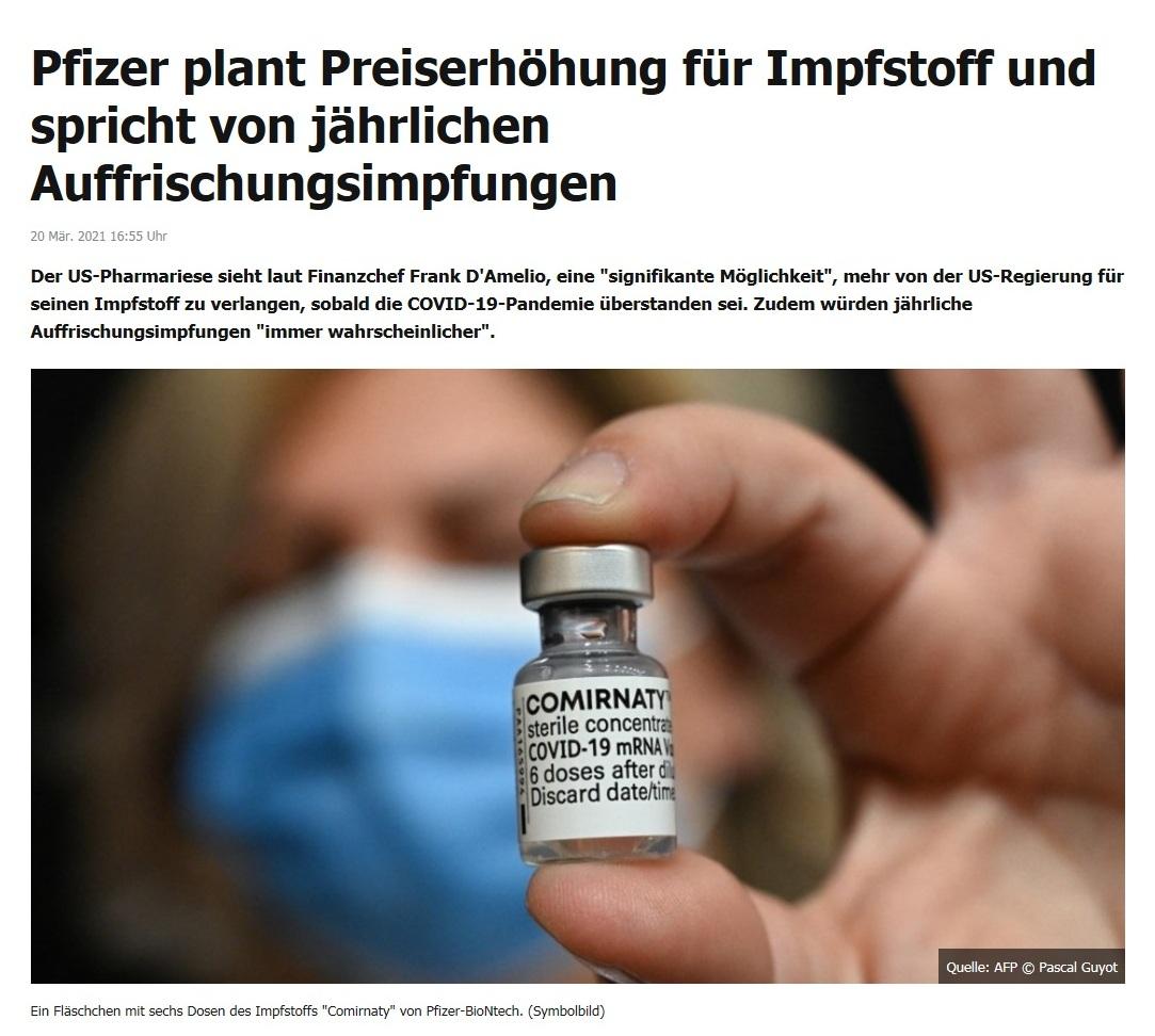 Pfizer plant Preiserhöhung für Impfstoff und spricht von jährlichen Auffrischungsimpfungen -  RT DE - 20 Mär. 2021 16:55 Uhr