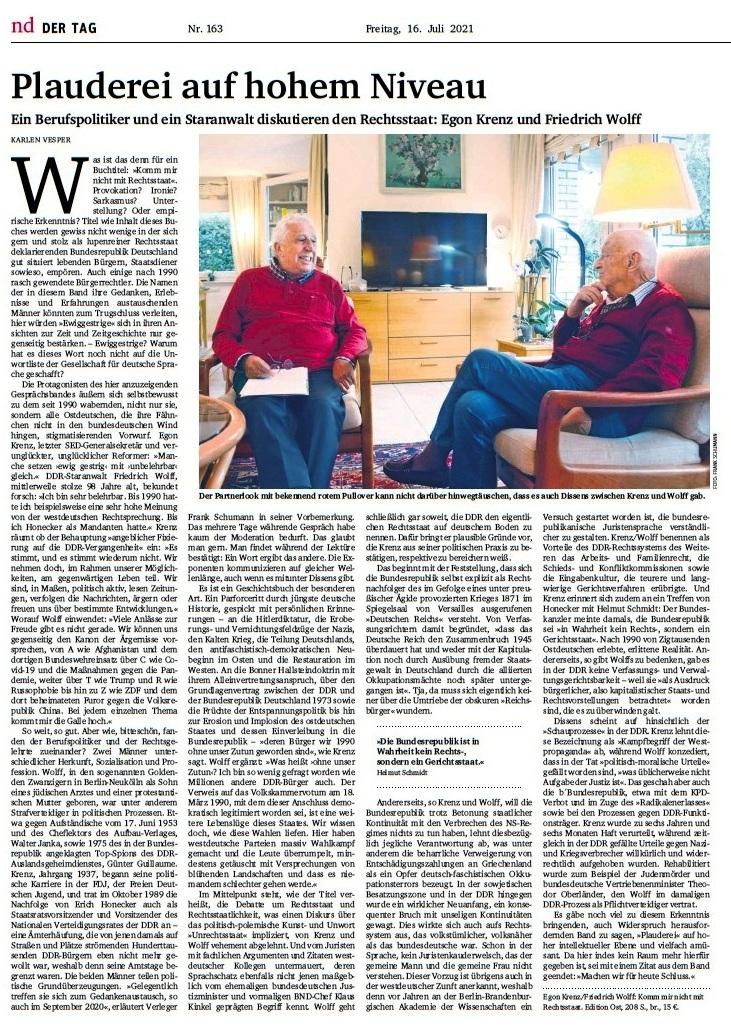 Plauderei auf hohem Niveau - Ein Berufspolitiker und ein Staranwalt diskutieren den Rechtsstaat - ND - Freitag, 16. Juli 2021 - Feuilleton - Seite 13 -  Aus dem Posteingang von Egon Krenz vom 15.07.2021
