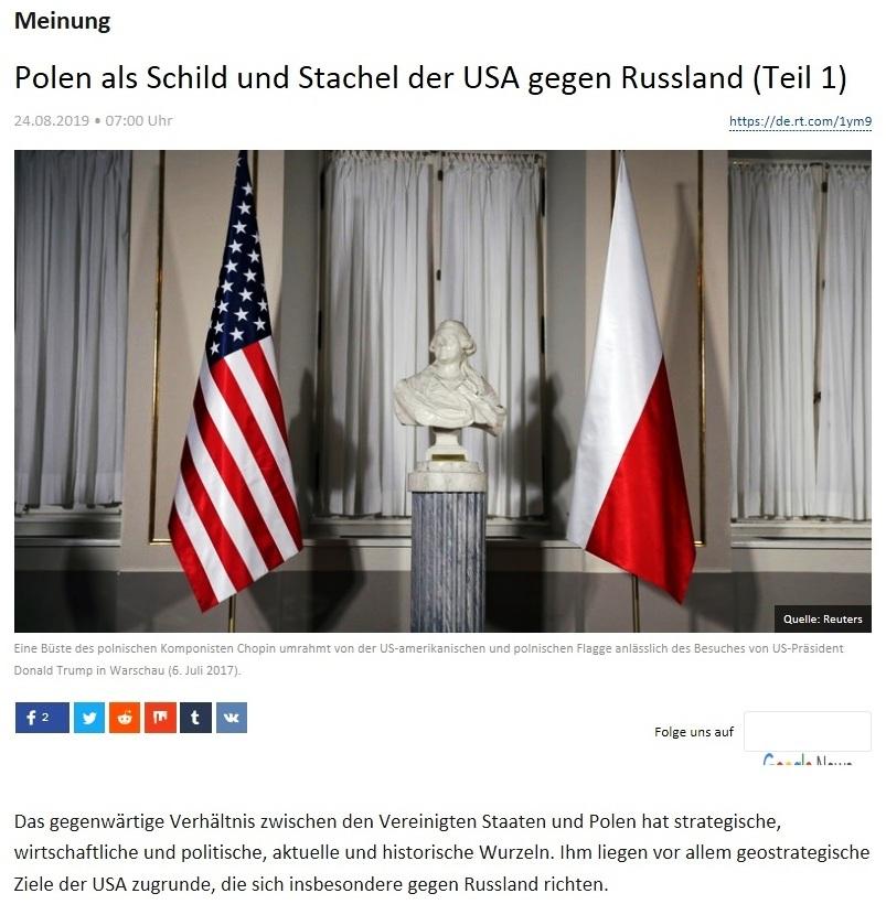 Meinung - Polen als Schild und Stachel der USA gegen Russland (Teil 1)
