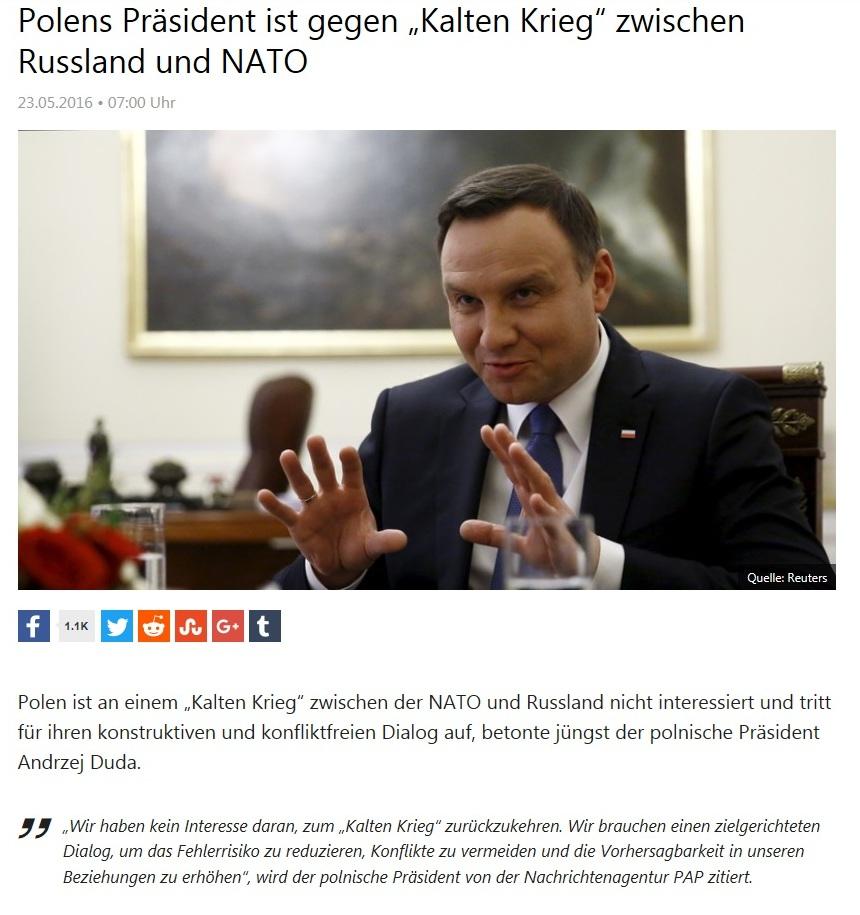 Polens Präsident Andrzej Duda ist gegen Kalten Krieg