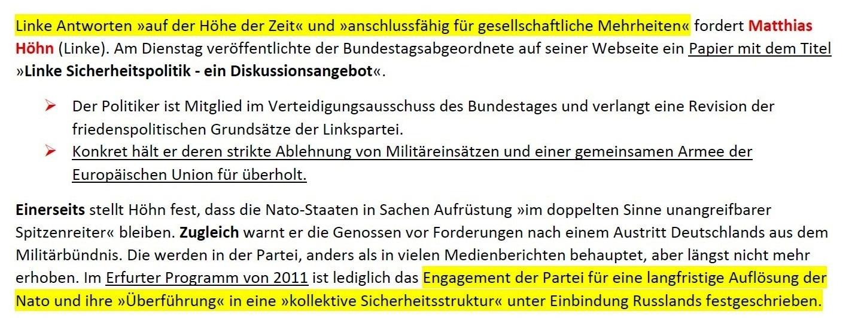 Aus dem Posteingang von Siegfried Dienel - Matthias Höhn fordert Revision friedenspolitischer Grundsätze seiner Partei und sieht bei ihr mangelnden Realitätssinn - Abschnitt 1