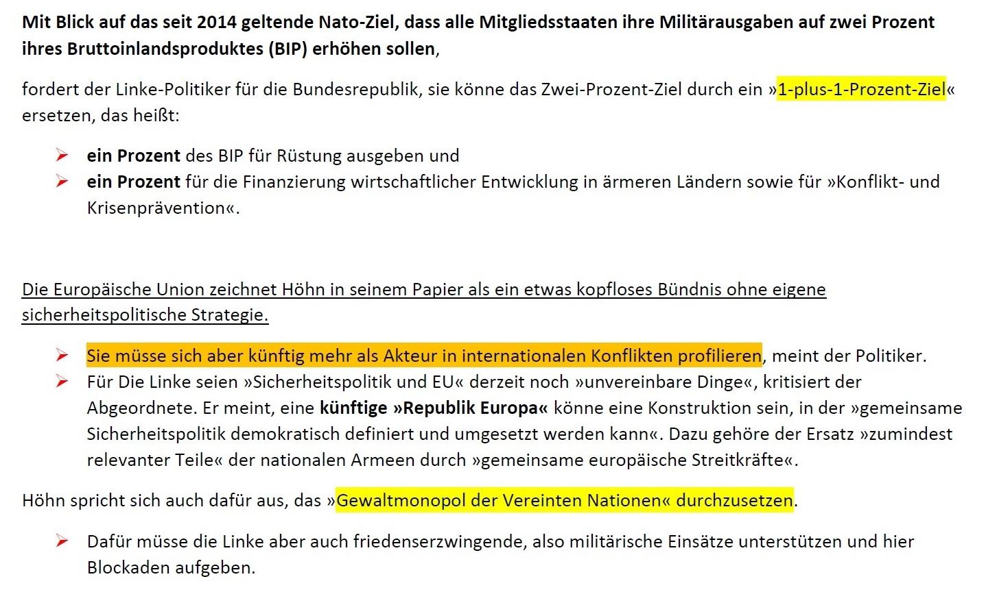 Aus dem Posteingang von Siegfried Dienel - Matthias Höhn fordert Revision friedenspolitischer Grundsätze seiner Partei und sieht bei ihr mangelnden Realitätssinn - Abschnitt 2