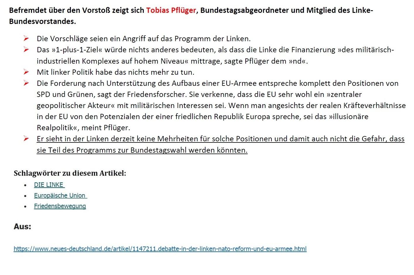 Aus dem Posteingang von Siegfried Dienel - Matthias Höhn fordert Revision friedenspolitischer Grundsätze seiner Partei und sieht bei ihr mangelnden Realitätssinn - Abschnitt 3