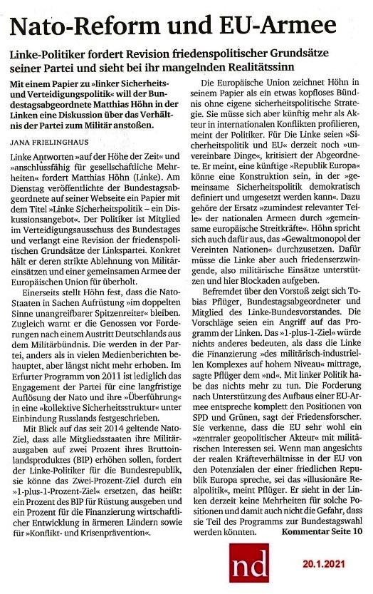 Aus dem Posteingang von Siegfried Dienel - Matthias Höhn fordert Revision friedenspolitischer Grundsätze seiner Partei und sieht bei ihr mangelnden Realitätssinn - Abschnitt 4