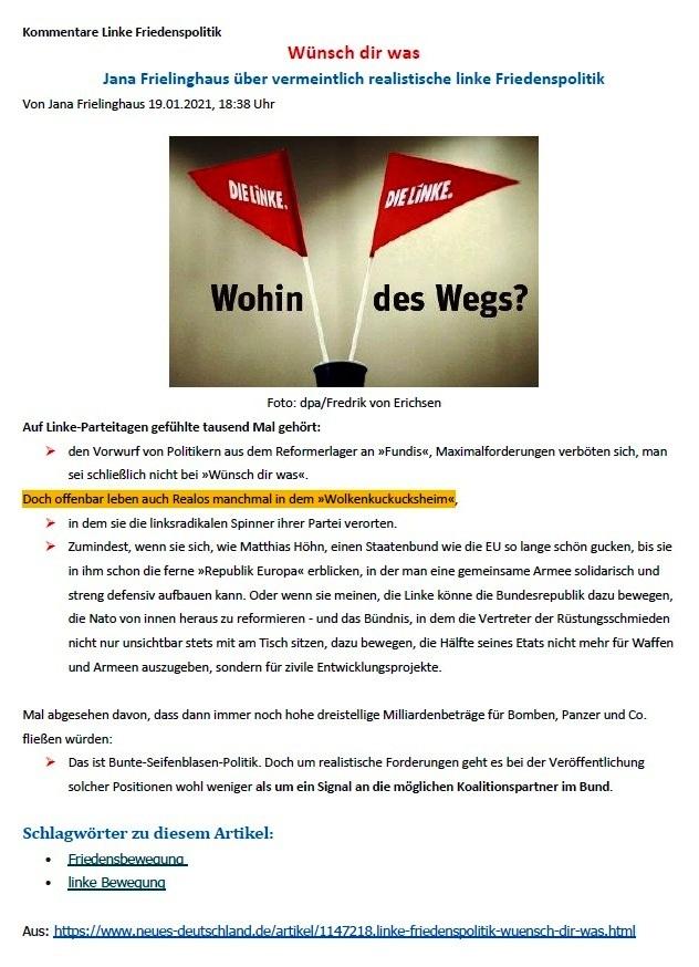Aus dem Posteingang von Siegfried Dienel - Matthias Höhn fordert Revision friedenspolitischer Grundsätze seiner Partei und sieht bei ihr mangelnden Realitätssinn - Abschnitt 5