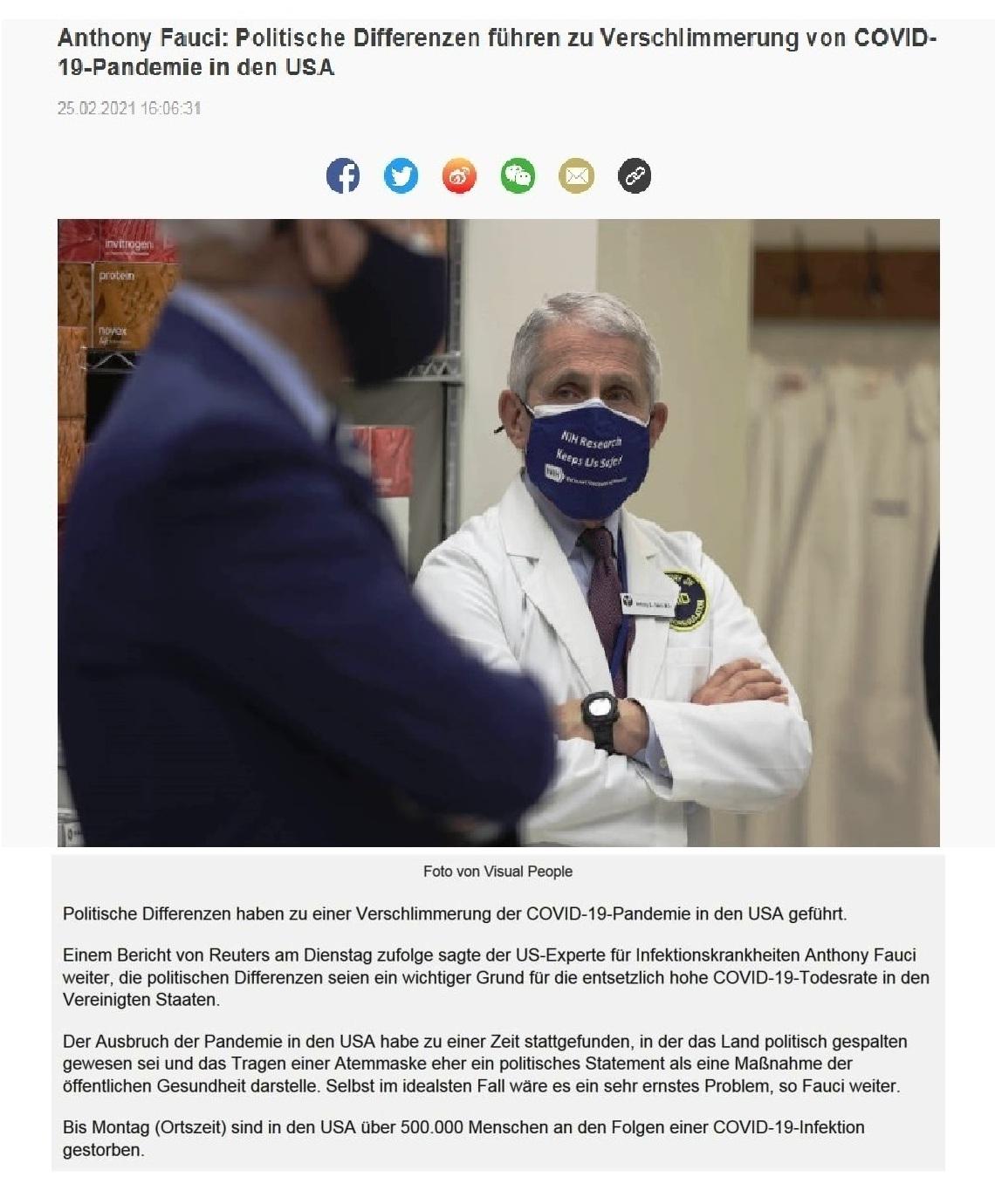 Anthony Fauci: Politische Differenzen führen zu Verschlimmerung von COVID-19-Pandemie in den USA - CRI online Deutsch - 25.02.2021 16:06:31