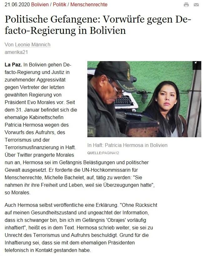 Politische Gefangene: Vorwürfe gegen De-facto-Regierung in Bolivien  - amerika21 - Nachrichten und Analysen aus Lateinamerika - 21.06.2020