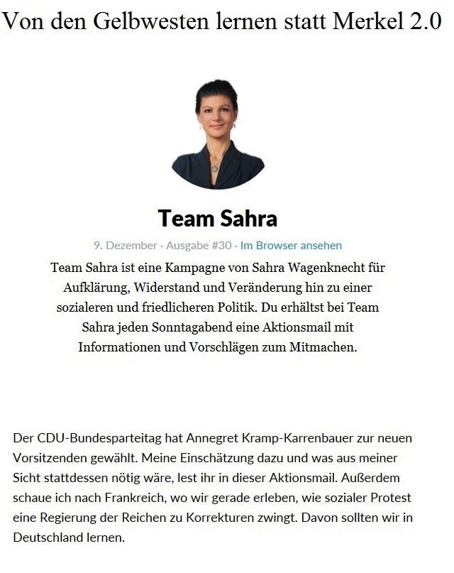 Aus dem Posteingang von Team Sahra - Von den Gelbwesten lernen statt Merkel 2.0