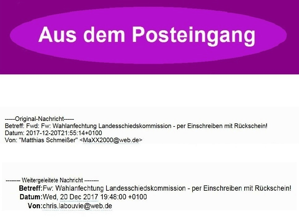 Aus dem Posteingang - Email des Kreisgeschäftsführers DIE LINKE Vorpommern-Rügen an die Mitglieder des Kreisvorstandes DIE LINKE Vorpommern-Rügen