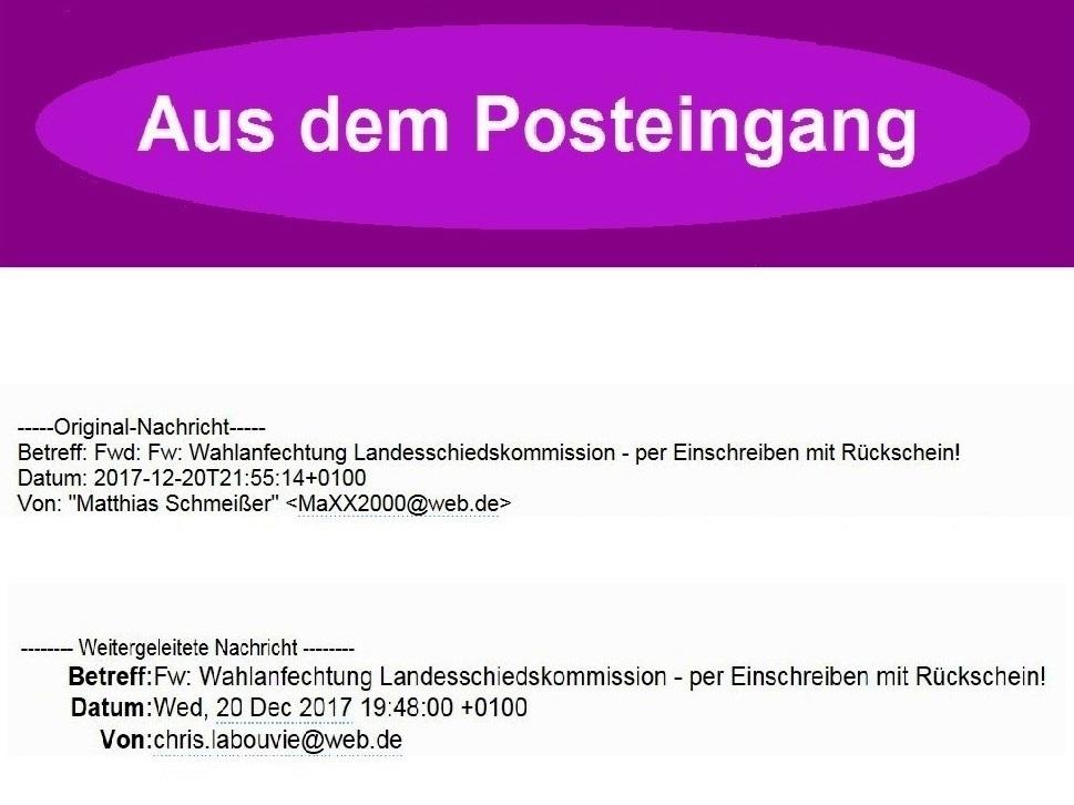 Aus dem Posteingang - Email des Kreisgeschäftsführers DIE LINKE Vorpommern-Rügen an die Mitglieder des Kreisvorstandes DIE LINKE Vorpommern-Rügen