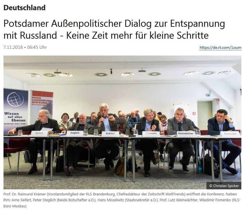 Deutschland - Potsdamer Außenpolitischer Dialog zur Entspannung mit Russland - Keine Zeit mehr für kleine Schritte