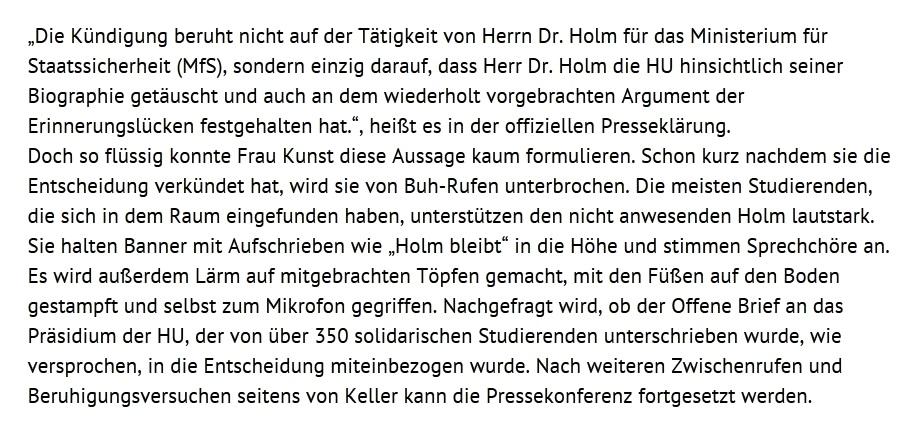 Pressekonferenz der Präsidentin der Humboldt-Universität zu Berlin Sabine Kunst zu Andrej Holm  wird von lautstarken Buh-Rufen und Protesten begleiten- Studenten erklären sich mit Andrej Holm solidarisch - Ostsee-Rundschau.de