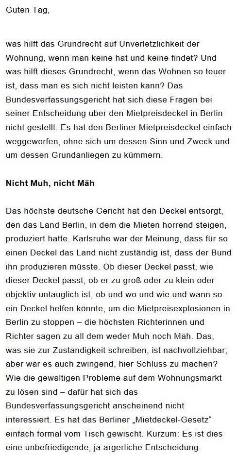 Prantls Blick - die politische Wochenschau - Süddeutsche Zeitung,  Ausgabe vom 18.04. 2021 - Zum Mietendeckel - Jurist/Journalist Prantl - Aus dem Posteingang vom 18.04.2021 von Dr. Marianne Linke - Abschnitt 1