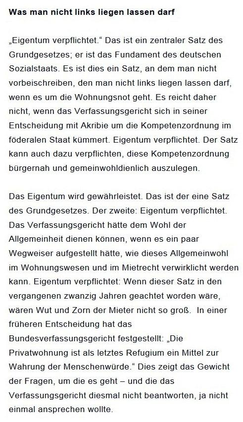 Prantls Blick - die politische Wochenschau - Süddeutsche Zeitung,  Ausgabe vom 18.04. 2021 - Zum Mietendeckel - Jurist/Journalist Prantl - Aus dem Posteingang vom 18.04.2021 von Dr. Marianne Linke - Abschnitt 2