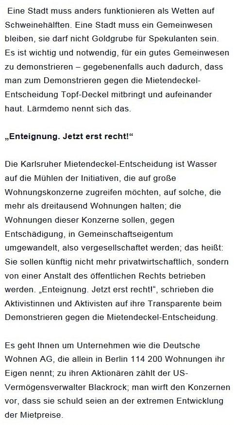 Prantls Blick - die politische Wochenschau - Süddeutsche Zeitung,  Ausgabe vom 18.04. 2021 - Zum Mietendeckel - Jurist/Journalist Prantl - Aus dem Posteingang vom 18.04.2021 von Dr. Marianne Linke - Abschnitt 6