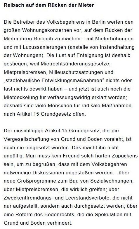 Prantls Blick - die politische Wochenschau - Süddeutsche Zeitung,  Ausgabe vom 18.04. 2021 - Zum Mietendeckel - Jurist/Journalist Prantl - Aus dem Posteingang vom 18.04.2021 von Dr. Marianne Linke - Abschnitt 7