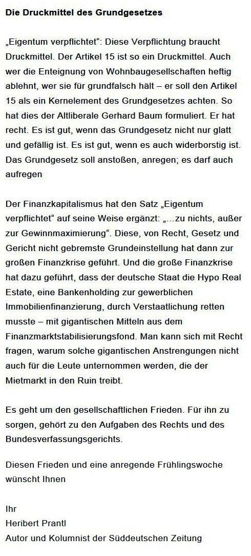 Prantls Blick - die politische Wochenschau - Süddeutsche Zeitung,  Ausgabe vom 18.04. 2021 - Zum Mietendeckel - Jurist/Journalist Prantl - Aus dem Posteingang vom 18.04.2021 von Dr. Marianne Linke - Abschnitt 8