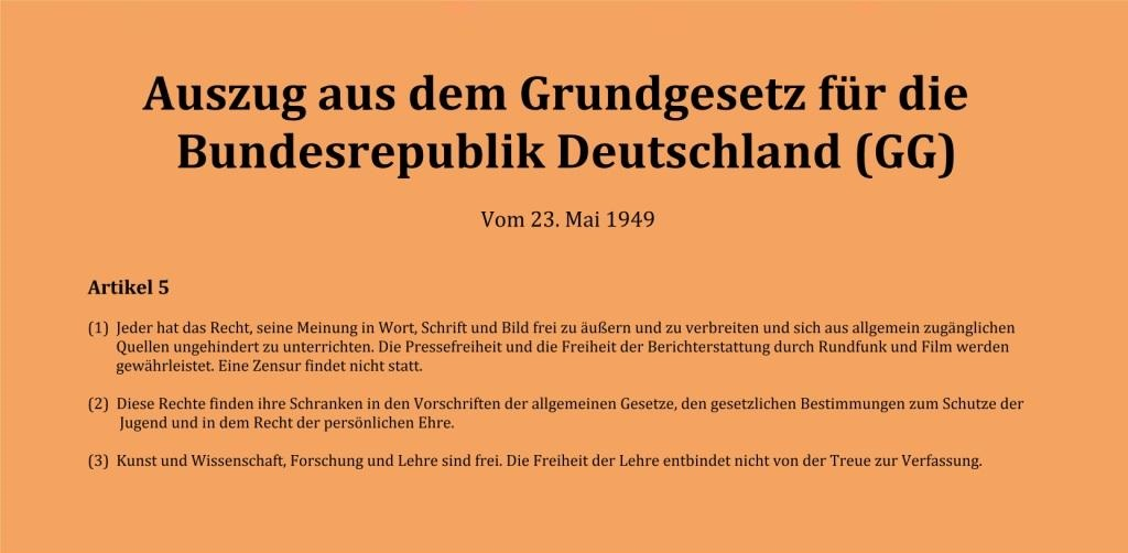 Auszug aus dem Grundgesetz für die Bundesrepublik Deutschland (GG) - Vom 23. Mai 1949 - Artikel 5 - (1) Jeder hat das Recht, seine Meinung in Wort, Schrift und Bild frei zu äußern und zu verbreiten und sich aus allgemein zugänglichen Quellen ungehindert zu unterrichten. Die Pressefreiheit und die Freiheit der Berichterstattung durch Rundfunk und Film werden gewährleistet. Eine Zensur findet nicht statt. - (2)  Diese Rechte finden ihre Schranken in den Vorschriften der allgemeinen Gesetze, den gesetzlichen Bestimmungen zum Schutze der Jugend und in dem Recht der persönlichen Ehre. - (3)  Kunst und Wissenschaft, Forschung und Lehre sind frei. Die Freiheit der Lehre entbindet nicht von der Treue zur Verfassung. - Ostsee-Rundschau.de - vielseitig,  informativ und unabhängig