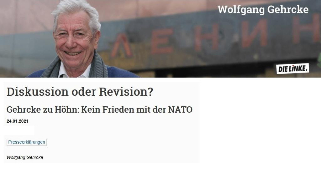 Pressemitteilung - Gehrcke zu Höhn: Kein Frieden mit der NATO! - Interview vom 24.01.2021 - www.wolfgang-gehrcke.de - Aus dem Posteingang von Siegfried Dienel vom 25.01.2021