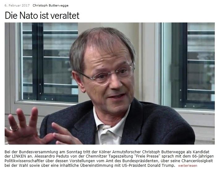 Professor Christoph Butterwegge wäre als Bundespräsident für ein friedfertiges Deutschland, dass sich nicht an Kriegseinsätzen und Rüstungsexporten beteiligt und für ein gutes Verhältnis zu seinen Nachbarn einschließlich Russland.