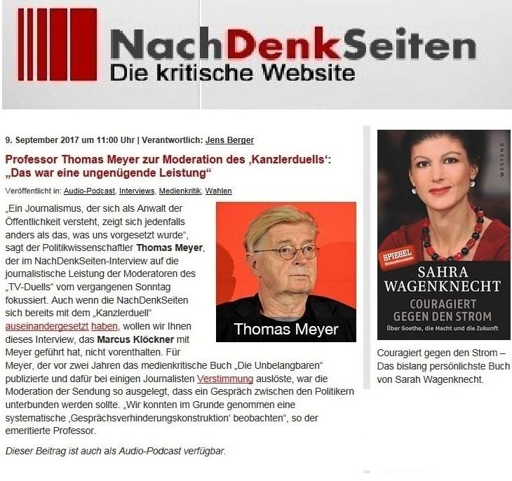 NachDenkSeiten - Die kritische Website - Professor Thomas Meyer zur Moderation des 'Kanzlerduells': 'Das war eine ungenügende Leistung'