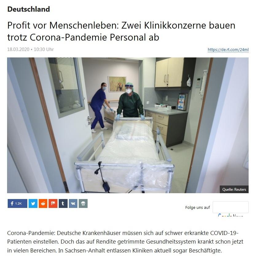 Deutschland - Profit vor Menschenleben: Zwei Klinikkonzerne bauen trotz Corona-Pandemie Personal ab  - RT DEUTSCH - 18.03.2020