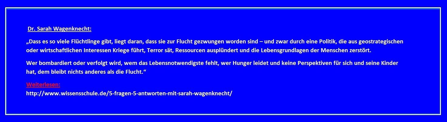 Prominent nachgefragt auf wissensschule.de bei Dr. Sarah Wagenknecht - 5 Fragen - 5 Antworten.
