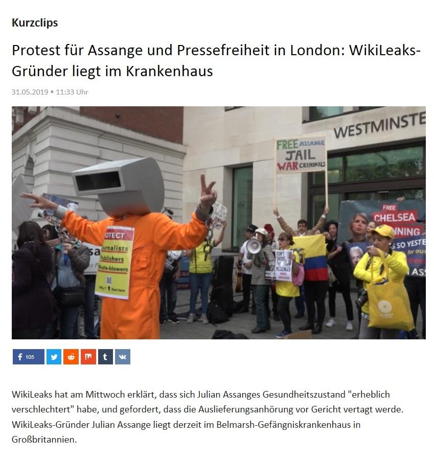 Kurzclips - Protest für Assange und Pressefreiheit in London: WikiLeaks-Gründer liegt im Krankenhaus