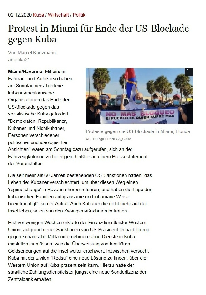 Protest in Miami für Ende der US-Blockade gegen Kuba - Von Marcel Kunzmann - amerika21 - Nachrichten und Analysen aus Lateinamerika - 02.12.2020
