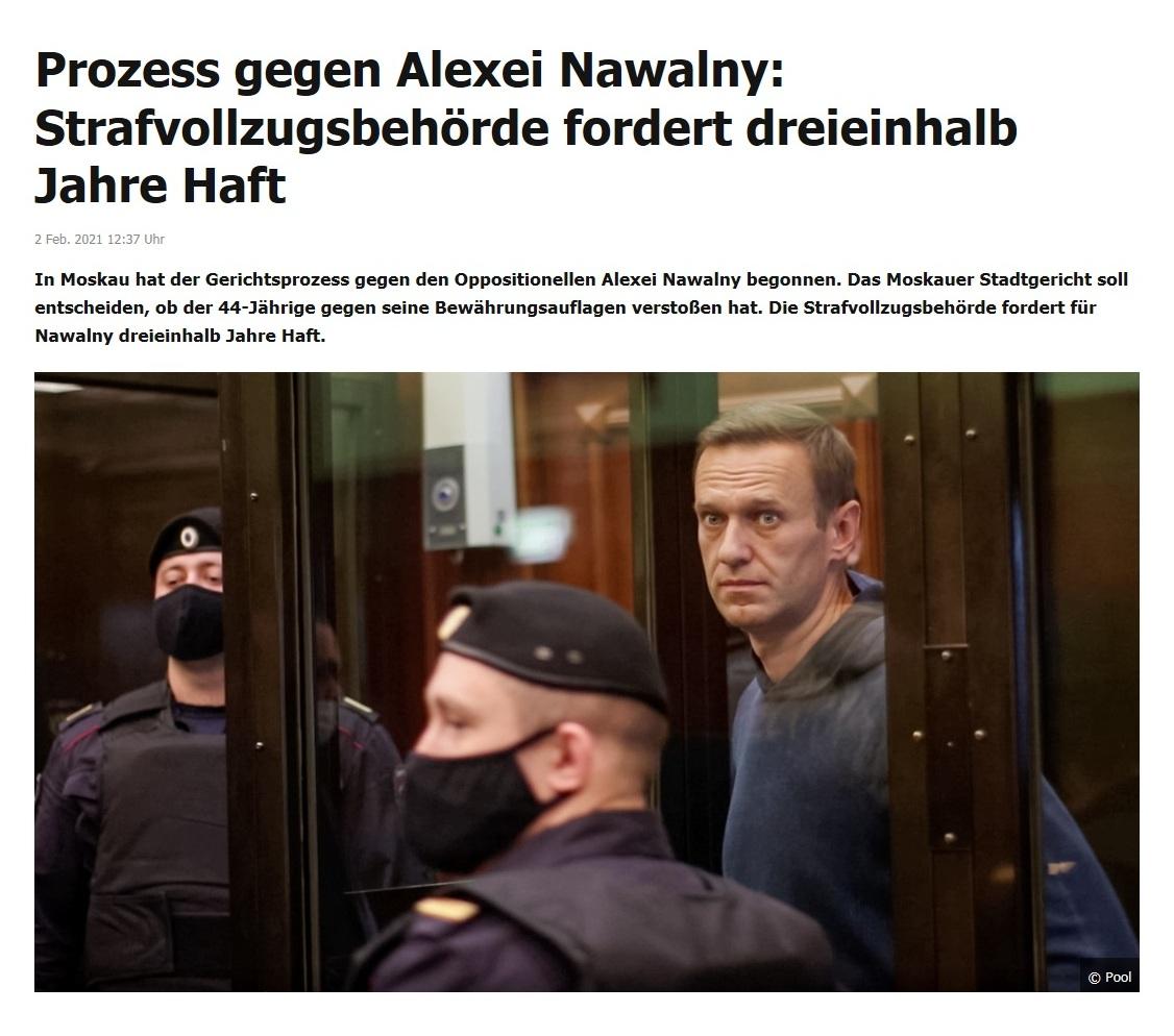 Prozess gegen Alexei Nawalny: Strafvollzugsbehörde fordert dreieinhalb Jahre Haft - RT DE - 2 Feb. 2021 12:37 Uhr