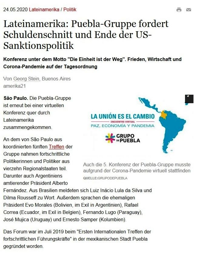 Lateinamerika: Puebla-Gruppe fordert Schuldenschnitt und Ende der US-Sanktionspolitik - amerika21 - Nachrichten und Analysen aus Lateinamerika - 24.05.2020