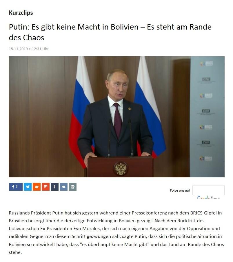 Kurzclips - Putin: Es gibt keine Macht in Bolivien – Es steht am Rande des Chaos