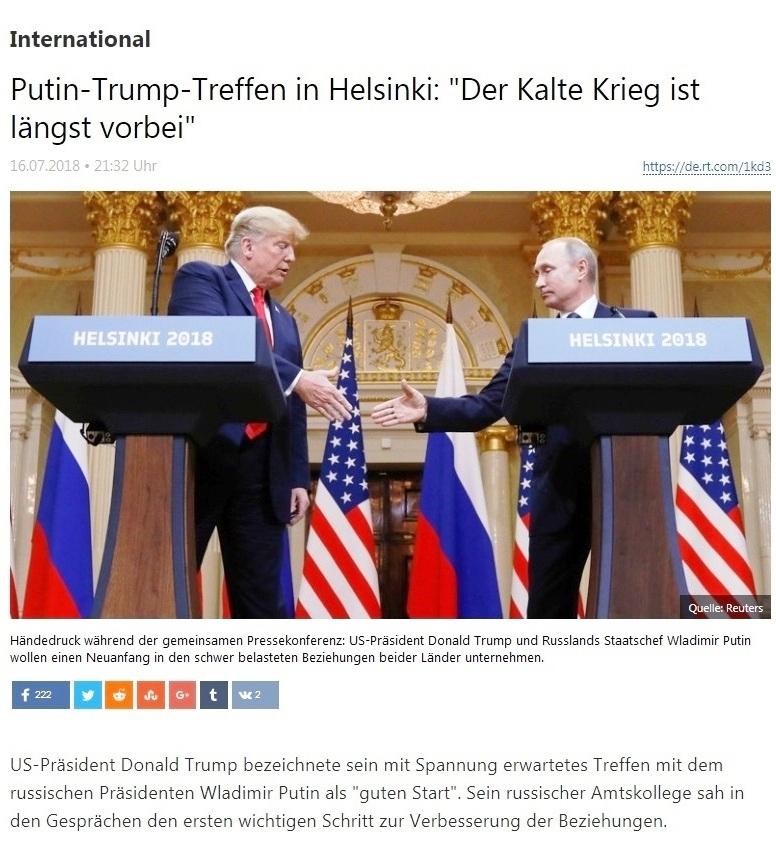 International - Putin-Trump-Treffen in Helsinki: 'Der Kalte Krieg ist längst vorbei'