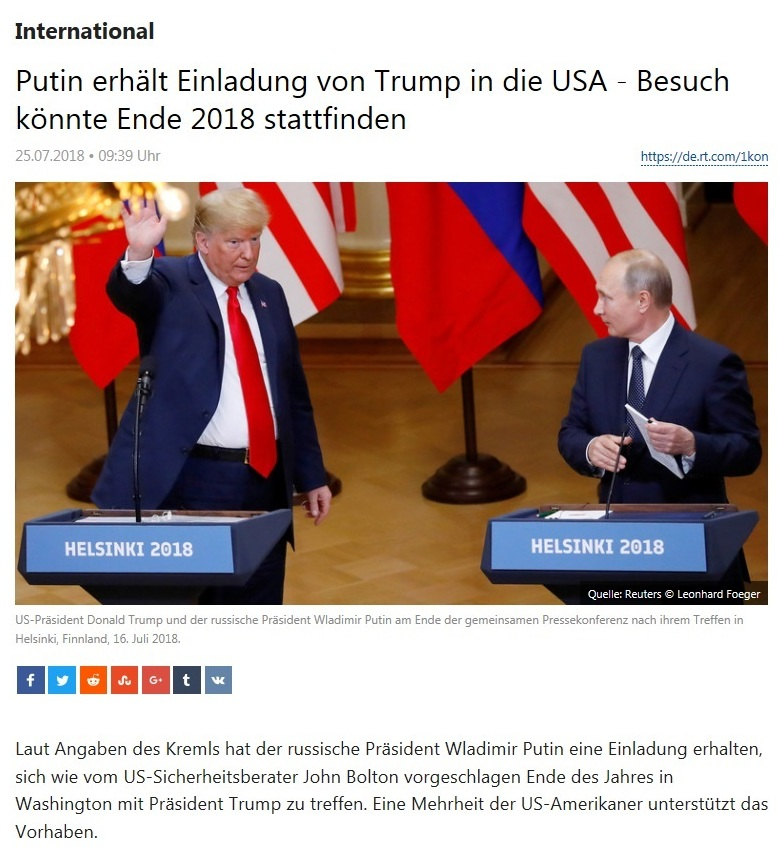 International - Putin erhält Einladung von Trump in die USA - Besuch könnte Ende 2018 stattfinden