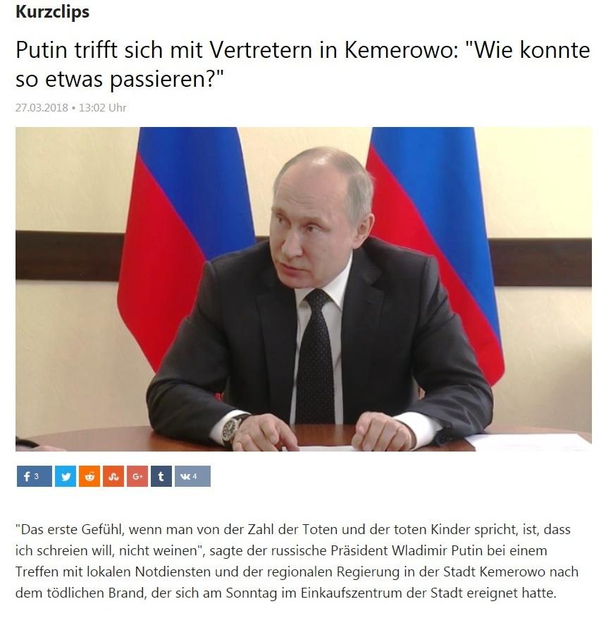 Kurzclips - Wladimir Putin trifft sich mit Vertretern in Kemerowo: 'Wie konnte so etwas passieren?'