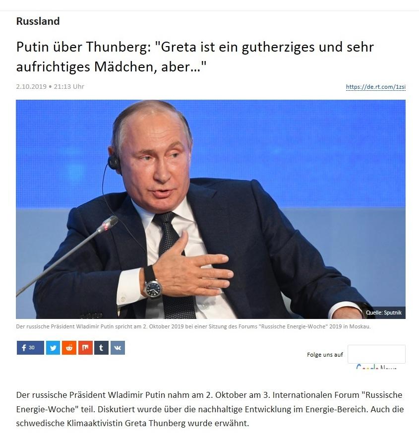 Russland - Putin über Thunberg: 'Greta ist ein gutherziges und sehr aufrichtiges Mädchen, aber…'
