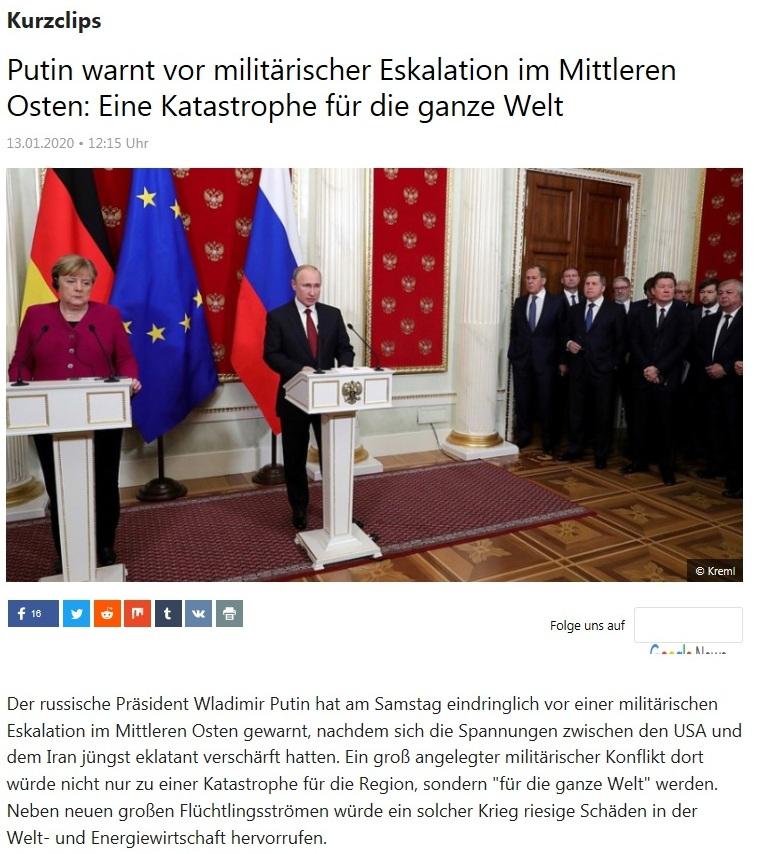 Kurzclips - Putin warnt vor militärischer Eskalation im Mittleren Osten: Eine Katastrophe für die ganze Welt