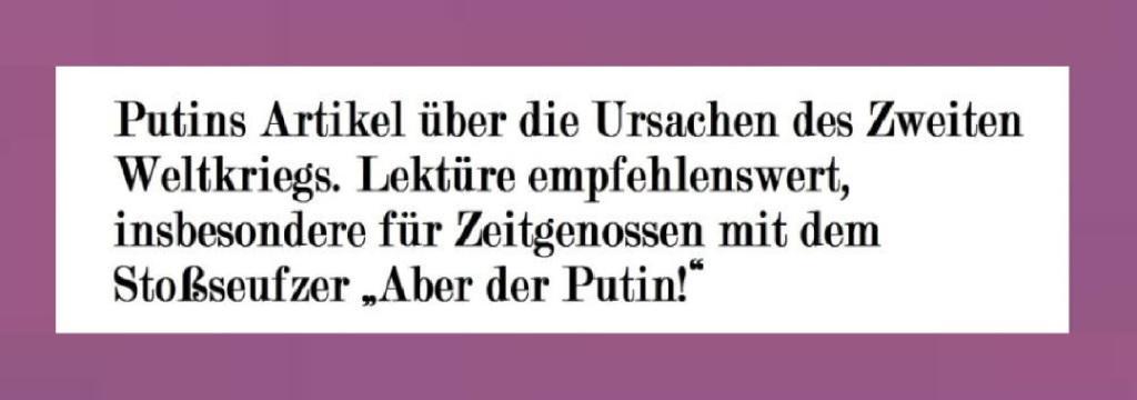 Putins Artikel über die Ursachen des Zweiten Weltkriegs. Lektüre empfehlenswert, insbesondere für Zeitgenossen mit dem Stoßseufzer 'Aber der Putin!' - NachDenkSeiten - Die kritische Website - 25.06.2020