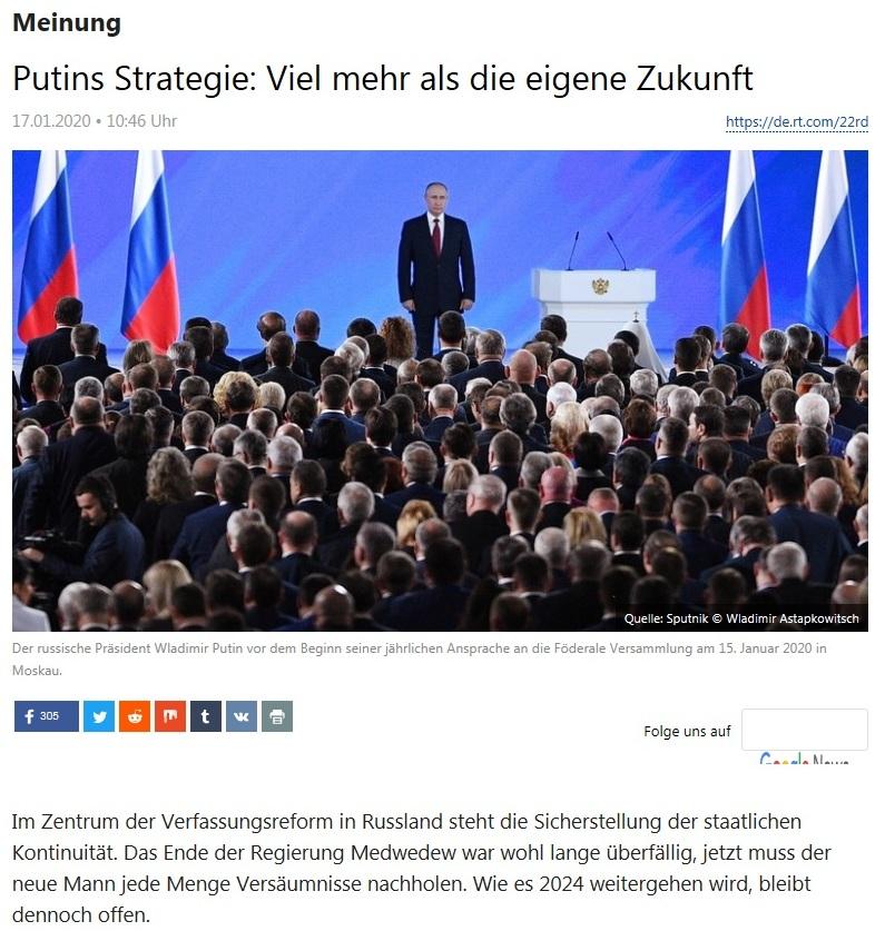 Meinung - Putins Strategie: Viel mehr als die eigene Zukunft