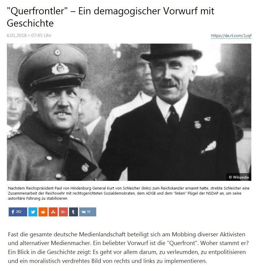'Querfrontler' – Ein demagogischer Vorwurf mit Geschichte