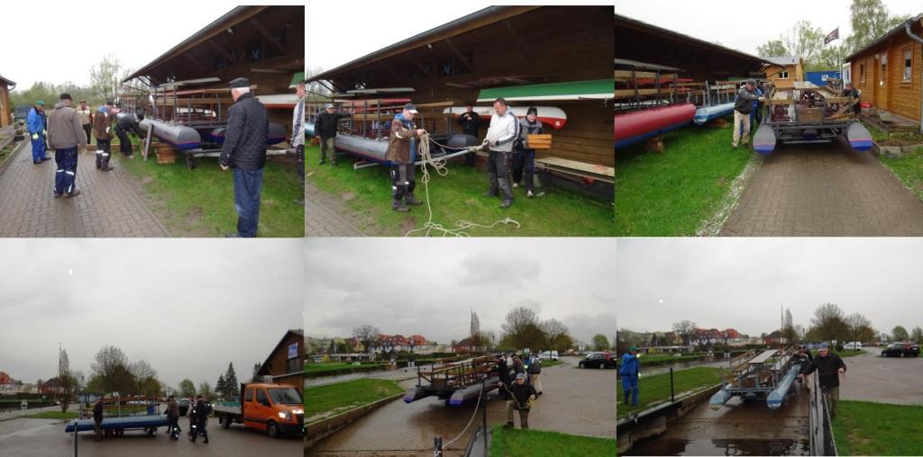 Während eines Arbeitseinsatzes am 26. April 2018 auf dem Vereinsgelände des Ribnitzer Sportvereins 1919 e. V. am Hafen in Damgarten wurden die Flöße des Vereins wieder flott gemacht und  danach ins Wasser gelassen. Fotos (6): Eckart Kreitlow
