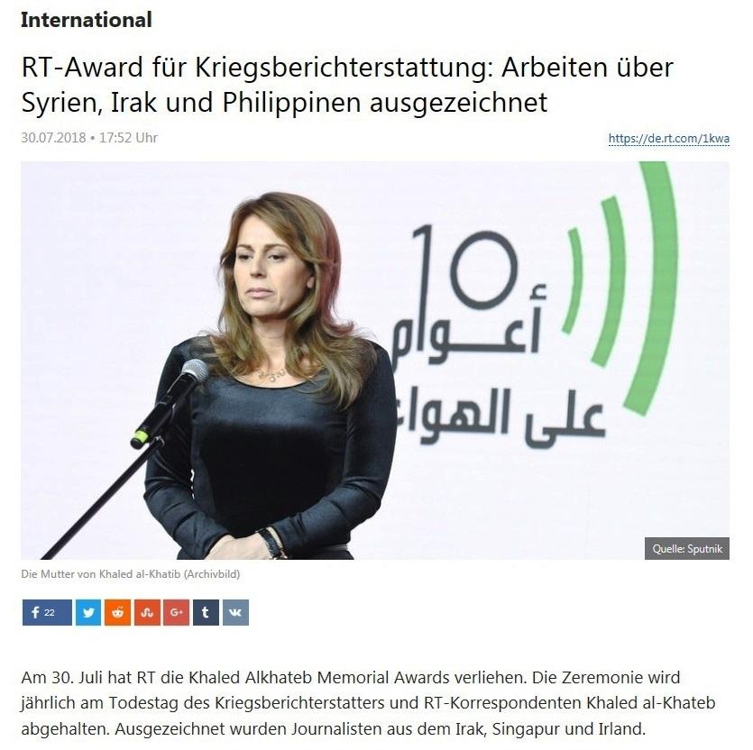 International - RT-Award für Kriegsberichterstattung: Arbeiten über Syrien, Irak und Philippinen ausgezeichnet