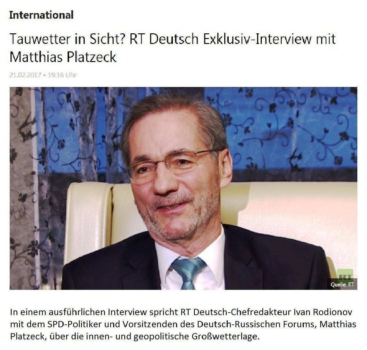Tauwetter in Sicht? RT Deutsch Exklusiv-Interview mit Matthias Platzeck