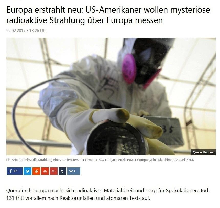 Aus dem Posteingang - Friedensinitiative gegen atomare Aufrüstung -  Europa erstrahlt neu: US-Amerikaner wollen mysteriöse radioaktive Strahlung über Europa messen